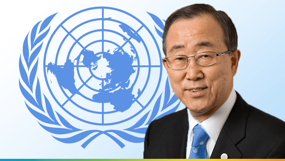 Photo of UN Secretary General Ban Ki-moon congratulates UNIDO on its 50th anniversary