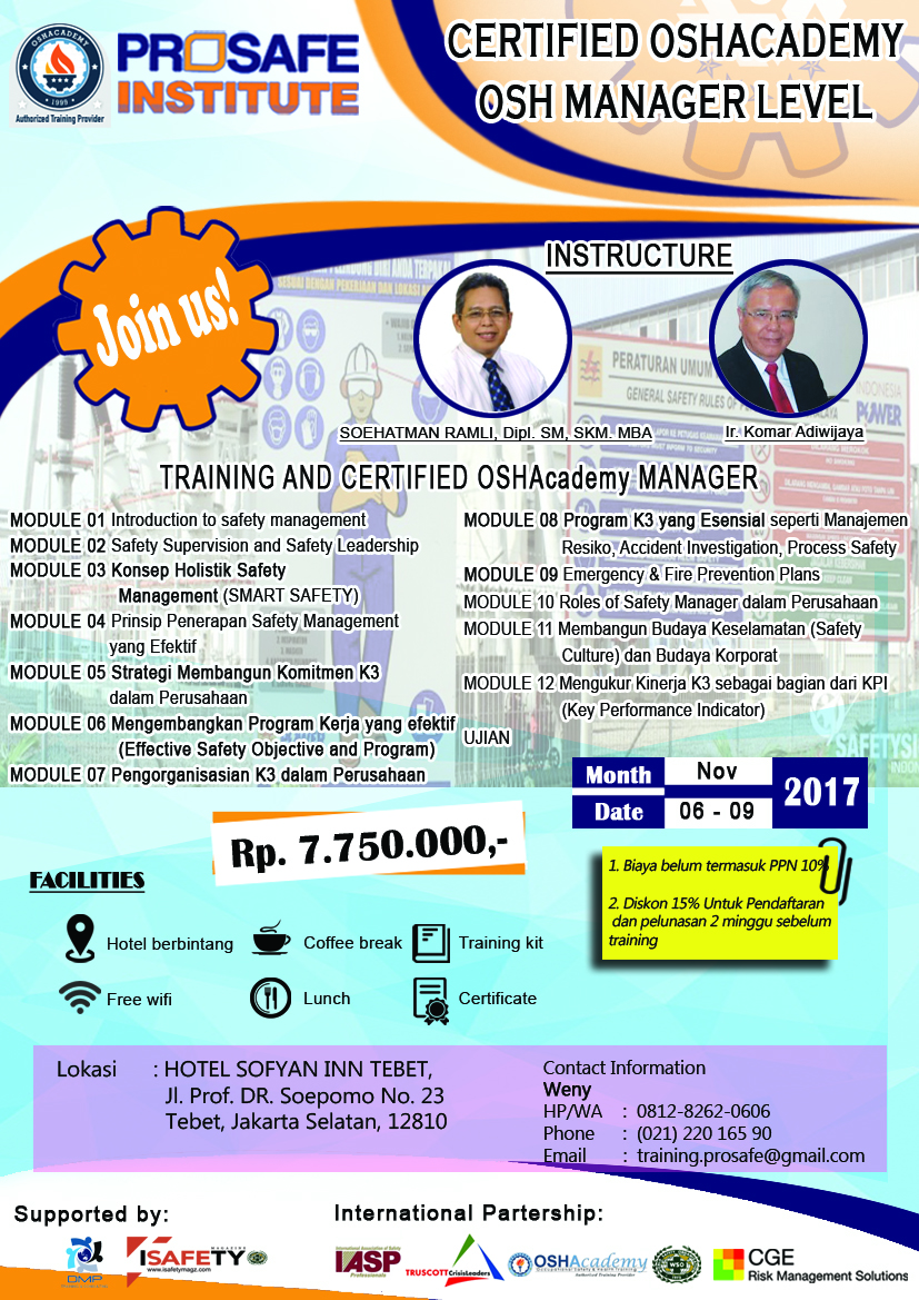 Photo of Taining OSH MANAGER LEVEL – Certified OSHAcademy, 6-9 November 2017